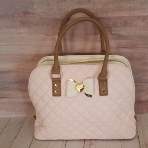 Betsy Johnson pink, ivory and tan bow purse